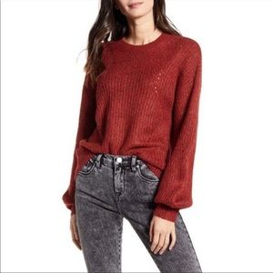 BP. Chunky Pointelle Pullover Sweater BROWN LARGE